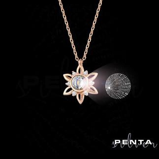 Penta Silver - 100 Dilde Seni Seviyorum Çiçekli Gümüş Kolye
