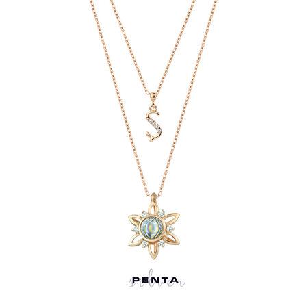 100 Dilde Seni Seviyorum Harfli Çiçekli Gümüş Kolye