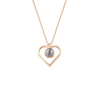 100 Dilde Seni Seviyorum Kalpli Gümüş Kolye - Thumbnail