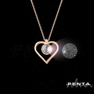 Penta Silver - 100 Dilde Seni Seviyorum Kalpli Gümüş Kolye
