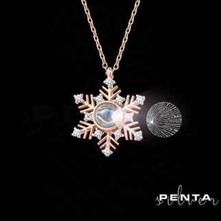 Penta Silver - 100 Dilde Seni Seviyorum Kar Tanesi Gümüş Kolye (1)