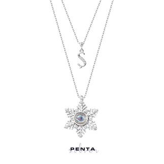 Penta Silver - 100 Dilde Seni Seviyorum Kar Tanesi Harfli Gümüş Kolye