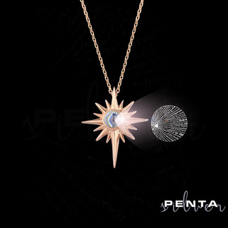 Penta Silver - 100 Dilde Seni Seviyorum Kutup Yıldızı Gümüş Kolye (1)