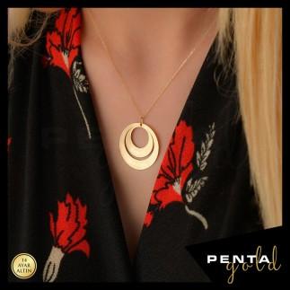 Penta Gold - 14 Ayar Altın 2 İsimli Aile Plaka Kolye
