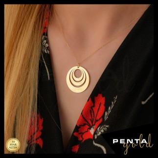 Penta Gold - 14 Ayar Altın 3 İsimli Aile Plaka Kolye