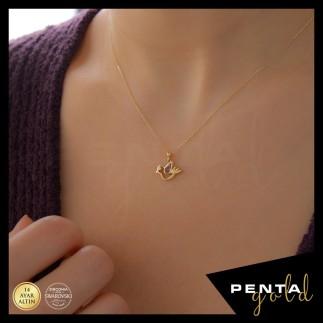 Penta Gold - 14 Ayar Altın Ametist Doğal Taşlı Güvercin Kolye (1)