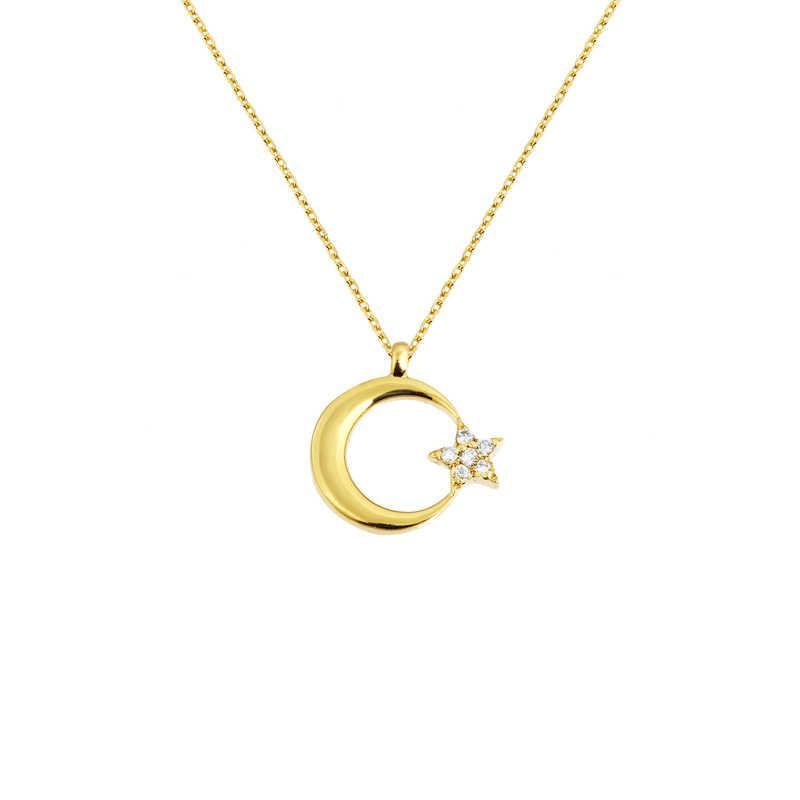 14 Ayar Altın Ay Yıldız Swarovski Kolye