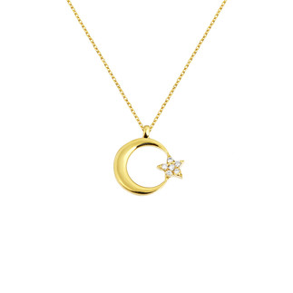 14 Ayar Altın Ay Yıldız Swarovski Kolye - Thumbnail