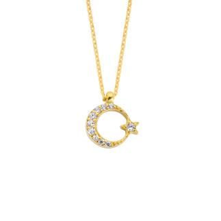 14 Ayar Altın Ay Yıldız Swarovski Taşlı Kolye - Thumbnail