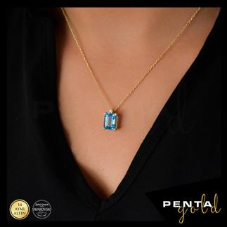 Penta Gold - 14 Ayar Altın Baget Mavi Topaz Kolye