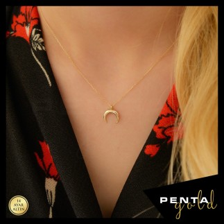 Penta Gold - 14 Ayar Altın Boynuz Kolye (1)