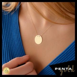 Penta Gold - 14 Ayar Altın Büyük Boy Levha Kolye