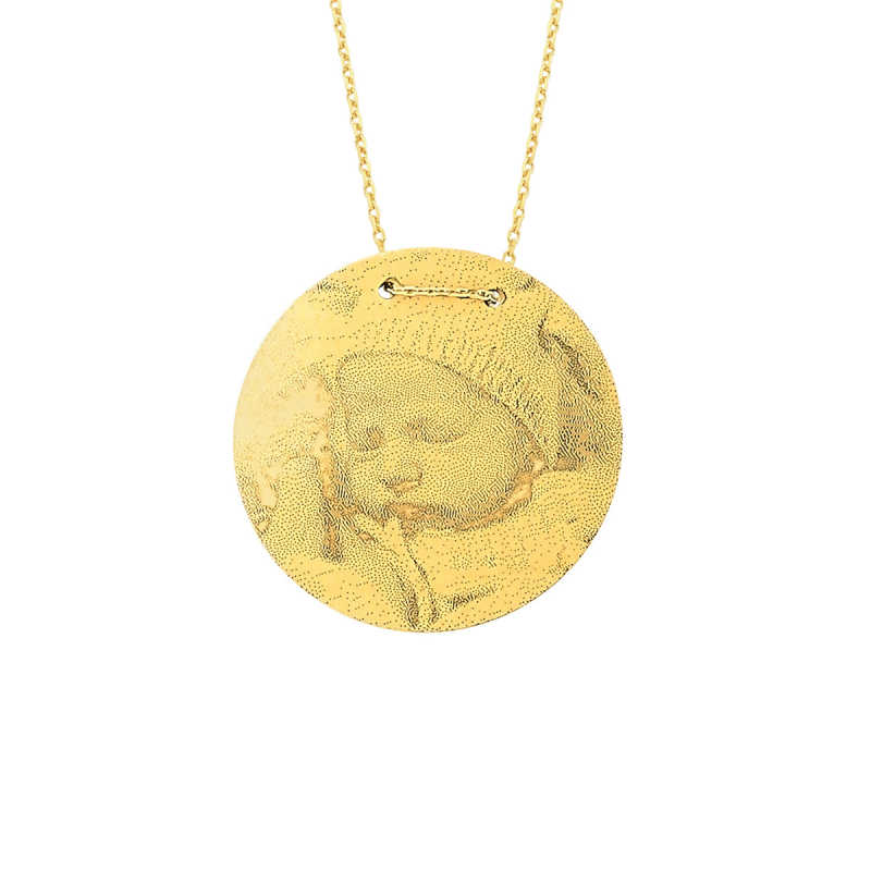 14 Ayar Altın Büyük Boy Resimli Levha Kolye