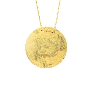 14 Ayar Altın Büyük Boy Resimli Levha Kolye - Thumbnail