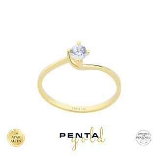 Penta Gold - 14 Ayar Altın Çapraz Tırnak Swarosvki Tektaş Yüzük (1)