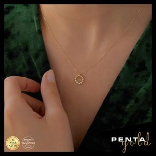 Penta Gold - 14 Ayar Altın Çelenk Swarovski Kolye