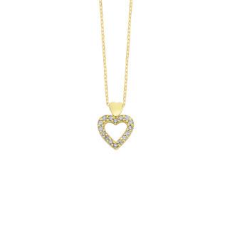 14 Ayar Altın Çift Kalpli Swarovski Kolye - Thumbnail