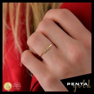 Penta Gold - 14 Ayar Altın Çift Sıra Swarovski Taşlı Yüzük