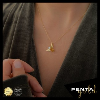Penta Gold - 14 Ayar Altın Citrine Doğal Taşlı Arı Kolye