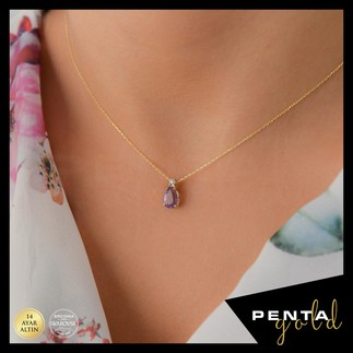 Penta Gold - 14 Ayar Altın Damla Ametist Kolye