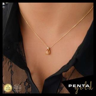 Penta Gold - 14 Ayar Altın Damla Sitrin Topaz Kolye (1)
