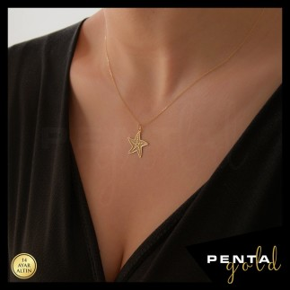Penta Gold - 14 Ayar Altın Deniz Yıldızı Kolye