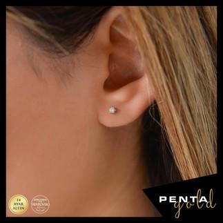Penta Gold - 14 Ayar Altın Dört Tırnak Küpe 0,10 ct. Swarovski Taşlı (1)