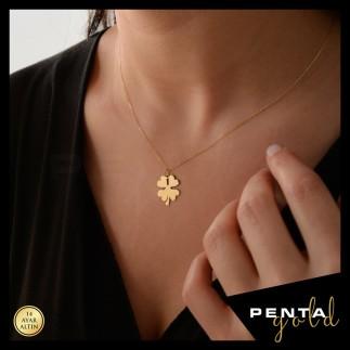 Penta Gold - 14 Ayar Altın Dört Yaprak Yonca Kolye (1)