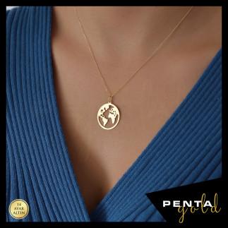 Penta Gold - 14 Ayar Altın Dünya Kolye (1)
