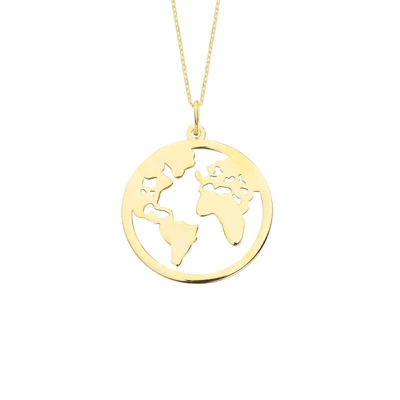 14 Ayar Altın Dünya Kolye