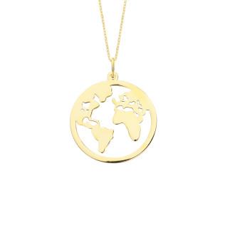 14 Ayar Altın Dünya Kolye - Thumbnail