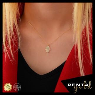 Penta Gold - 14 Ayar Altın Fatma Ana Eli Swarovski Kolye