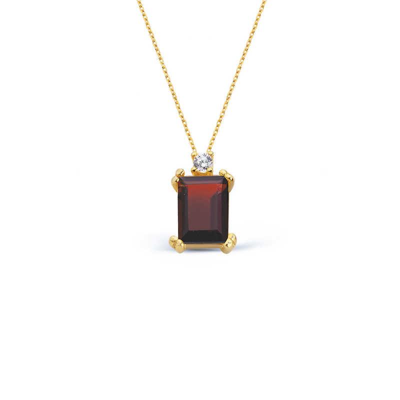 14 Ayar Altın Garnet Baget Kolye