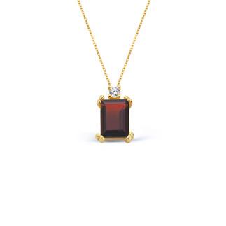 14 Ayar Altın Garnet Baget Kolye - Thumbnail