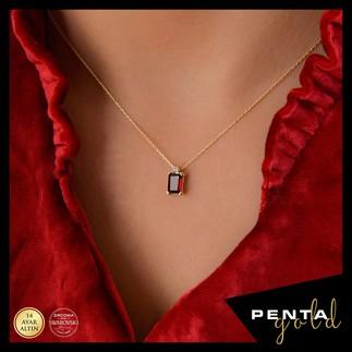Penta Gold - 14 Ayar Altın Garnet Baget Kolye (1)