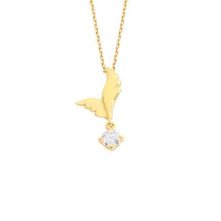 14 Ayar Altın Güvercin Kanadı Swarovski Kolye - Thumbnail