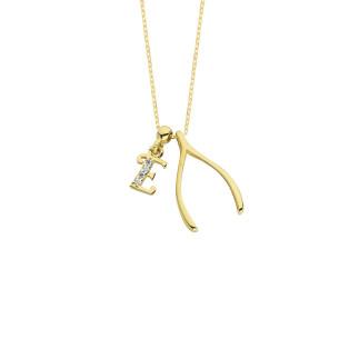 14 Ayar Altın Harfli Lades Swarovski Kolye - Thumbnail
