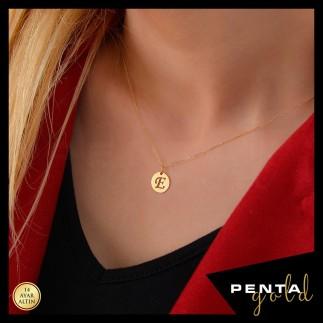 Penta Gold - 14 Ayar Altın Harfli Yuvarlak Levha Kolye