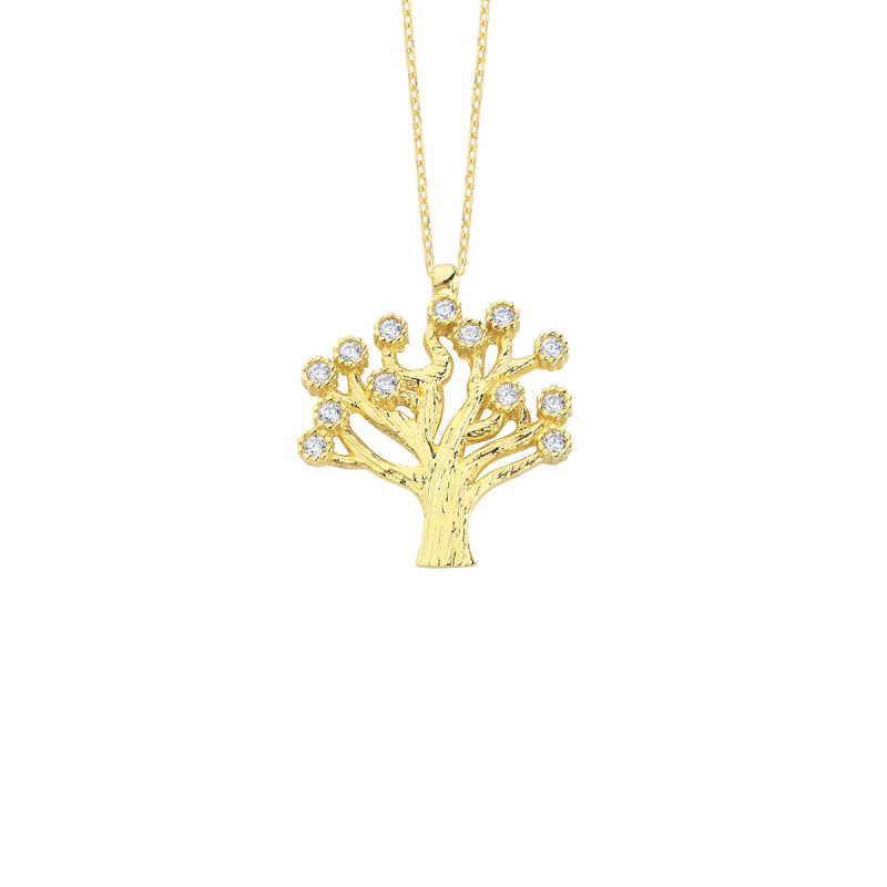 14 Ayar Altın Hayat Ağacı Swarovski Taşlı Kolye