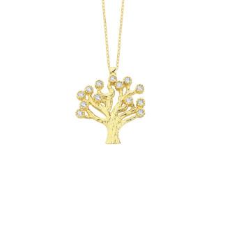 14 Ayar Altın Hayat Ağacı Swarovski Taşlı Kolye - Thumbnail