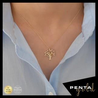 Penta Gold - 14 Ayar Altın Hayat Ağacı Swarovski Taşlı Kolye