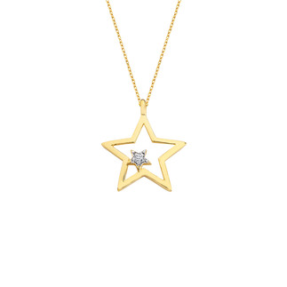 14 Ayar Altın İkili Yıldız Swarovski Kolye - Thumbnail