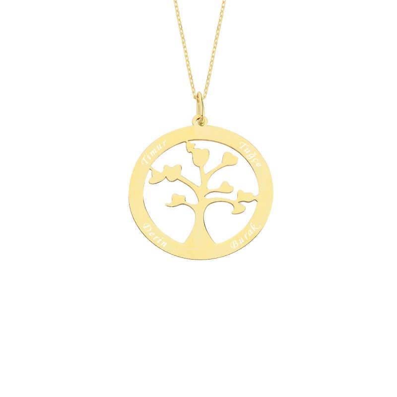 14 Ayar Altın İsimli Hayat Ağacı Aile Kolye