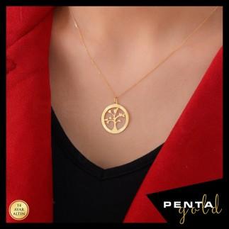 Penta Gold - 14 Ayar Altın İsimli Hayat Ağacı Aile Kolye