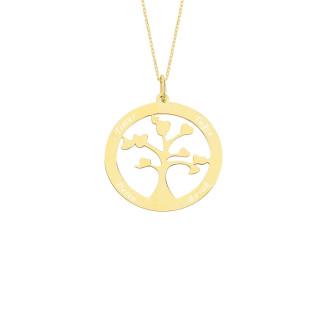14 Ayar Altın İsimli Hayat Ağacı Aile Kolye - Thumbnail