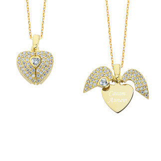 14 Ayar Altın İsimli Kalpli Swarovski Kolye - Thumbnail