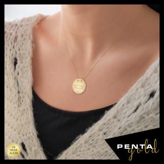 Penta Gold - 14 Ayar Altın İsimli Levha Kolye