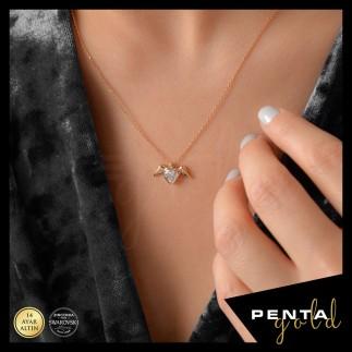 Penta Gold - 14 Ayar Altın Kalp Taşlı Melek Swarovski Kolye (1)