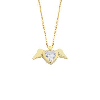 14 Ayar Altın Kalp Taşlı Melek Swarovski Kolye - Thumbnail