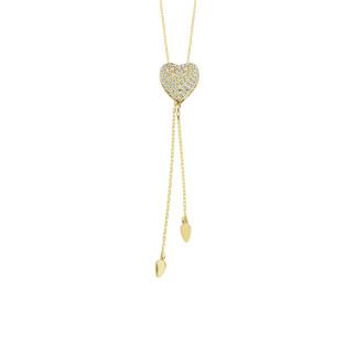 14 Ayar Altın Kalpli Çift Zincir Swarovski Kolye - Thumbnail
